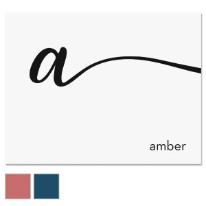 Cursive Initial Personalized Note Cards
