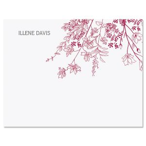 Plum Floral Personalized Note Cards