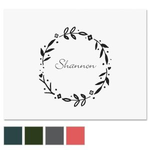 Floral Shield Wreath Personalized Note Cards