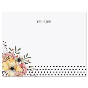 Floral Dots Personalized Note Cards