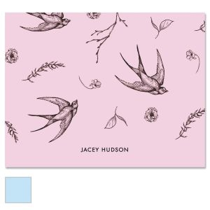 Swallow Pattern Personalized Note Cards