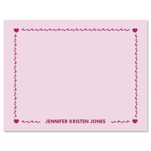 Heart Border Personalized Note Cards