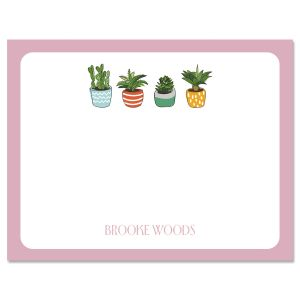 Pink Border Succulents Personalized Note Cards