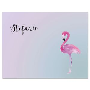 Single Flamingo Personalized Note Cards