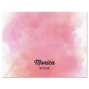 Pink Wash Personalized Note Cards