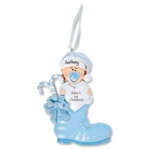 Boy Baby Boots Personalized Ornament