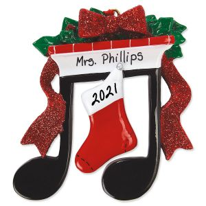 Music Note Fireplace Hand-Lettered Christmas Ornament