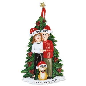 Christmas Couple with Cat Hand-Lettered Christmas Ornament