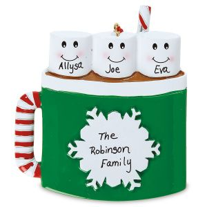 Marshmallow Mug Hand-Lettered Christmas Ornament