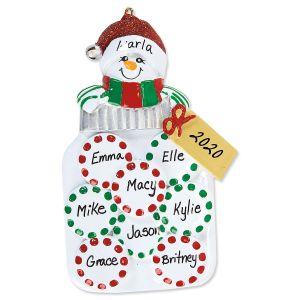 Peppermint Jar Single Head Hand-Lettered Christmas Ornament