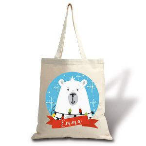 Personalized North Pole Bear Canvas Tote