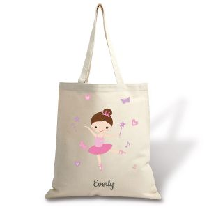 Brunette Ballerina Personalized Canvas Tote