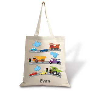 Trucks & Trains Personalized Canvas Tote