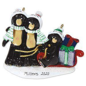 Sledding Bear Family Hand-Lettered Christmas Ornament