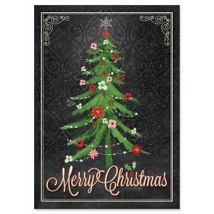 Tree on Black Christmas Cards