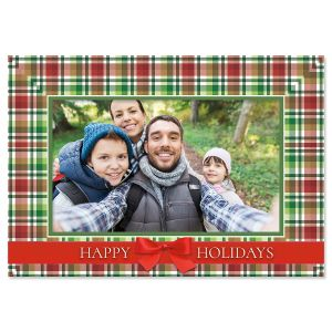 Christmas Plaid Photo Sleeve Christmas Cards