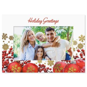 Dazzling Ornament Deluxe Photo Sleeve Christmas Cards