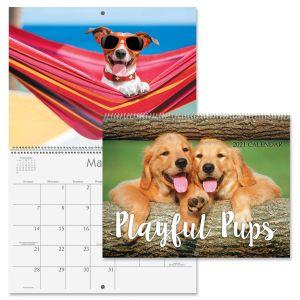 2021 Playful Pups Wall Calendar