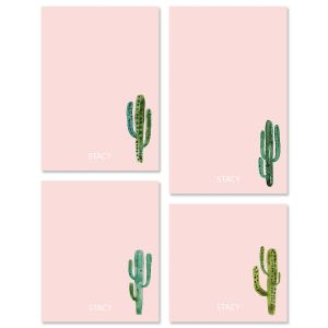 Watercolor Cactus Initial Personalized Notepad Sets