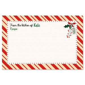 Candy Cane Border Personalized Recipe Cards