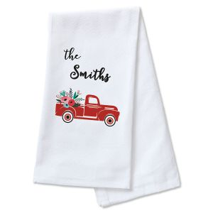 Red Truck Personalized Kitchen Towel