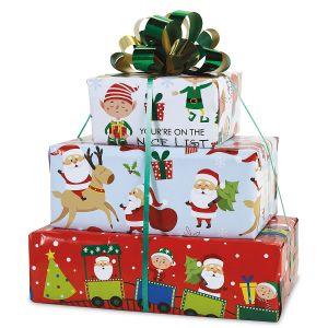 Santa's Helpers Flat Gift Wrap Trio - BOGO