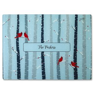 Birch Trees Tempered Glass Cutting Board