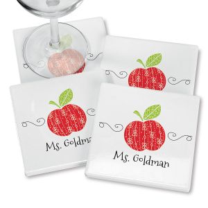 Red Apple Personalized Ceramic Coasters
