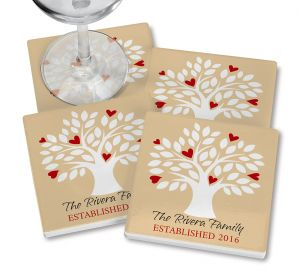 Family Tree Personalized Ceramic Coasters
