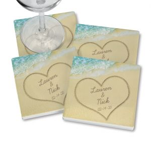 Names in Sand Personalized Ceramic Coasters