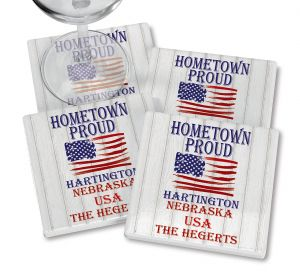 Home Town Proud Personalized Ceramic Coasters