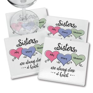 Sisters Heart Personalized Ceramic Coasters