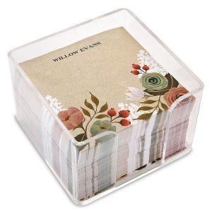 Kraft Floral Personalized Note Sheets in a Cube
