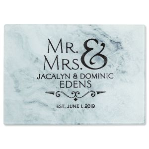 Mr. & Mrs. Tempered Glass Cutting Board