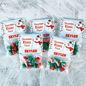 Snowman Kisses Treat Bags and Personalized Toppers