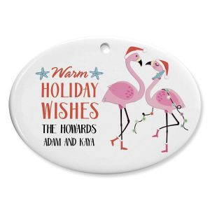 Flamingo Family Personalized Ceramic Ornament