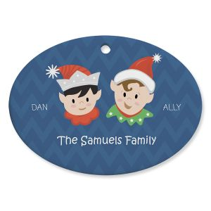 Elves Family Personalized Ceramic Ornament