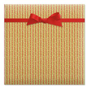 Red & Green Stripes Flat Gift Wrap