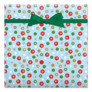 Dots & Snowflakes Flat Gift Wrap