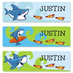 Personalized Sharks Name Stickers