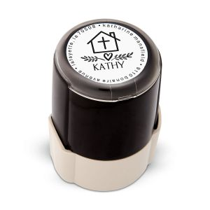 Cross Personalized Round Address Stamp