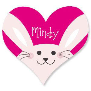 Personalized Easter Bunny Heart Stickers