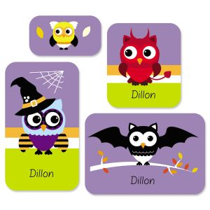 Personalized Halloween Owls Stickers