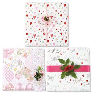 Heart Design Flat GiftWrap Sheets - BOGO
