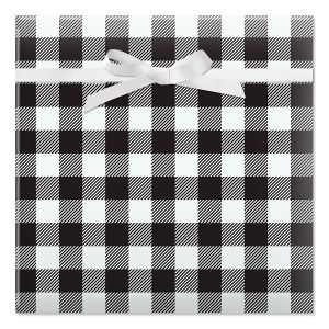 Black & White Plaid Jumbo Rolled Gift Wrap