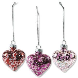 Glitter Glass Heart Ornaments