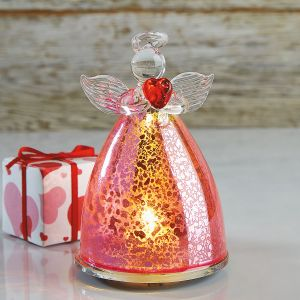 LED Pink Glass Angel with Heart