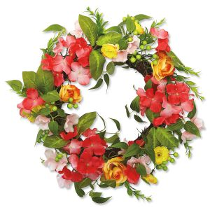 Rose & Pink Wreath with Yellow Flowers