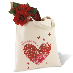 Butterfly Heart Personalized Canvas Tote