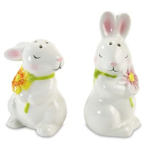 Bunnies with Flowers Salt & Pepper Set